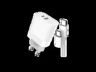 L64 XO Ładowarka sieciowa 18W USB QC3.0/PD USB-C + kabel Typ-C white box