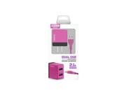 SMS-A53 Somostel ładowarka sieciowa + kabel Typ-C 2A 2xUSB pink box