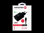 SWISSTEN ładowarka sieciowa 2x USB Smart IC + kabel Type-C black box